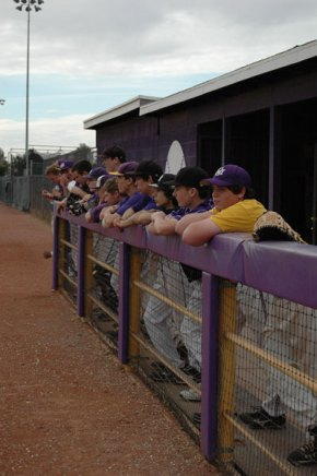 Future players look on while tryouts are underway.