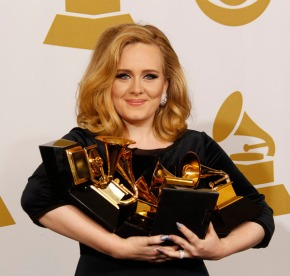 Adele with her bevy of awards at the 54th Annual Grammy Awards at the Staples Center in Los Angeles, California, on Sunday, February 12, 2012. (Allen J. Schaben/Los Angeles Times/MCT)